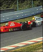 Ayrton Senna (right) crashes into Alain Prost at Suzuka in Japan, 1990