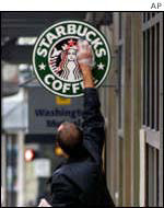 Starbucks defaced by protester