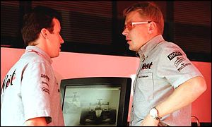 Olivier Panis (left) and Mika Hakkinen in 2000
