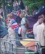 Fans queue outside Wimbledon
