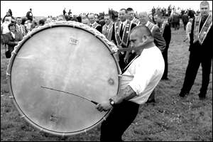 A lambeg drum in action at Rosnowlagh