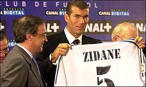 Zinedine Zidane is the most expensive player in world football