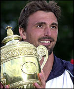 Goran Ivanisevic with the Wimbledon men's singles championship trophy