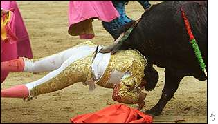 Bullfighter Jesus Millan, aged 22, tossed by a bull