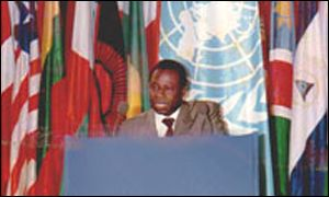 Amara Essy giving a speech at the UN in a photo from his website