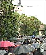 Umbrellas in the streets of Jedwabne