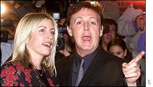 Sir Paul McCartney with partner Heather Mills