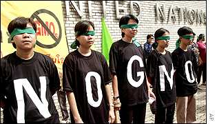 Demonstrators protest against GM produce outside a biotech conference in Bangkok