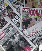 Ivanisevic's win dominated the Croatian papers