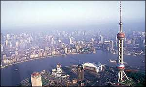 Shanghai skyline from the Pudong business district