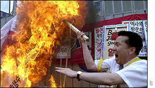 South Korean protester burns Japanese flag