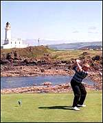 John Daly tees off at Turnberry's 9th hole
