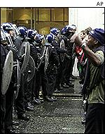 Police and protesters on May Day in London