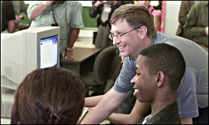 Microsoft Chairman Bill Gates with students at a Florida school