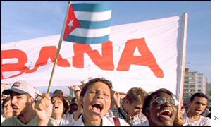 Cuban exiles demonstrate on Miami streets
