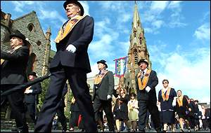 Orangemen gathered early for the day's events - with feeder parades joining up in the centre of Belfast