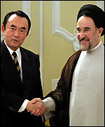 Japanese Trade Minister Takeo Hiranuma and Iranian President Khatami
