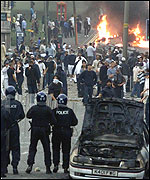 Rioting on the streets of Bradford
