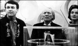 William Hartnell (centre) as the first Doctor in 1963 - with William Russell as Ian and Jacqueline Hill as Barbera