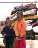 Children at Bredell squatter camp near Johannesburg
