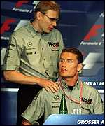 Mika Hakkinen and David Coulthard at a press conference