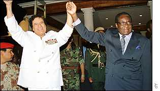 Gaddafi and Mugabe at the African Union summit