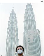 A man wearing a mask to protect against the pollution on a backdrop of the famous Petronas Twin Towers in Kuala Lumpur