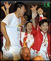 Chinese delegates celebrate victory