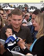 David Coulthard mixes with his fans