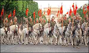 Lancers of the Spanish Royal Guard, known as El Curpo, rehearse for Bastille Day
