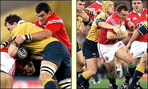 Owen Finegan takes Martin Johnson's tackle