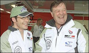 Jacques Villeneuve and Kenneth Clarke at Silverstone