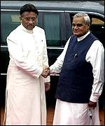 President Pervez Musharraf and Indian Prime Minister, Atal Behari Vajpayee