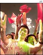 Chinese students celebrate in Beijing