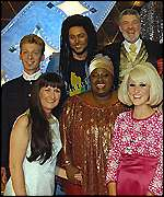 Wilkinson with host Matthew Kelly and other contestants
