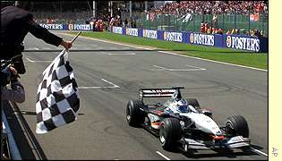 Mika Hakkinen wins the British GP for the first time