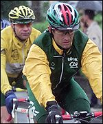 Julich and Voigt during stage eight of Le Tour