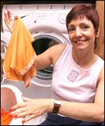 Washing machine and proud woman