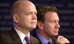 Tory leader William Hague and leadership contender Michael Portillo