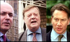 Would-be Tory leaders Iain Duncan Smith, Kenneth Clarke and Michael Portillo