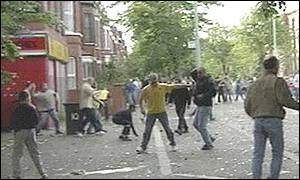 Rioters on the streets of Belfast