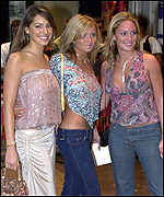 Actress Kelly Brook(l) and Hollyoaks stars Danielle Brunt (c) and Joanna Taylor (