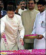 President Musharraf at Gandhi's memorial