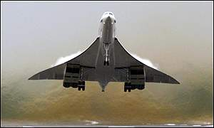 Concorde in flight on Tuesday