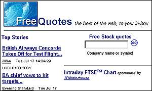 Detail from FreeQuotes website