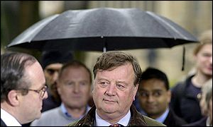 Michael Ancram (left) is interviewed alongside Ken Clarke after the election result