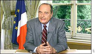 President Chirac speaking during a live TV interview on 14 July