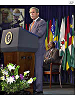 President Bush addresses the World Bank