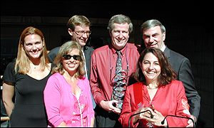 The BBC World Service web team with ceremony host Sam Donaldson (far right)