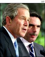 President Bush and Spanish PM Jose Maria Aznar